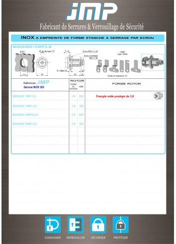 Serrure inox B00226F:TMP38 - Plan Technique
