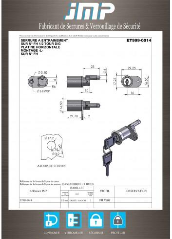 Serrure à entraînement pour meuble ET999-0014 - Plan Technique