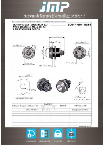 Serrure inox B0014-001-TM14 batteuse triangle de 14 - Plan Technique