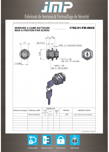 Serrure inox 1700-01-FM-INOX came batteuse fixation ecrou - Plan Technique