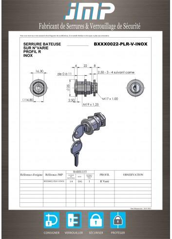Serrure inox BXXX0022-PLR-V-INOX came batteuse fixation ecrou - Plan Technique