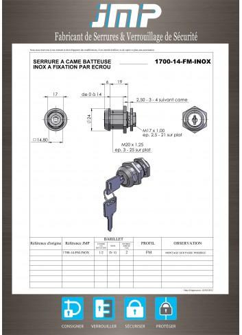 Serrure inox 1700-14-FM-INOX came batteuse fixation par ecrou - Plan Technique