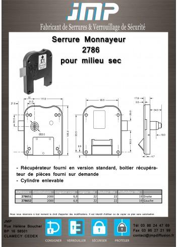 Monnayeur vestiaire 2786 pour milieu sec - Plan Technique