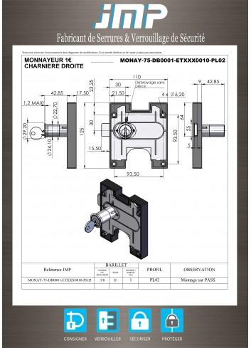 Serrure à monnaie MONAY-75-DB0001 - cylindre rallongé - milieux humides - Plan Technique
