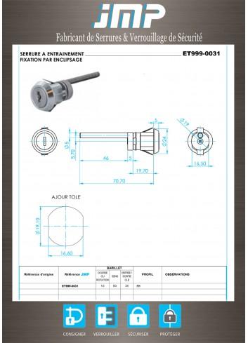 Serrure à entraînement pour meuble ET999-0031 - Plan Technique