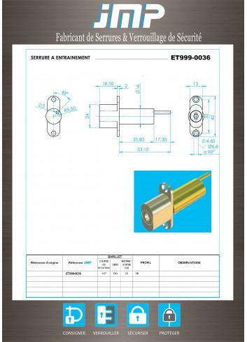 Serrure à entraînement ET999-0036 pour meuble - Plan Technique