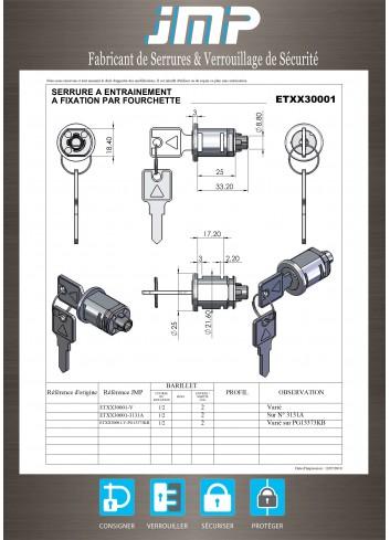Serrure à entraînement ETXX30001 pour meuble - Plan Technique