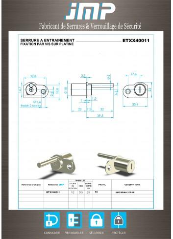 Serrure à entraînement ETXX40011 pour meuble - Plan Technique