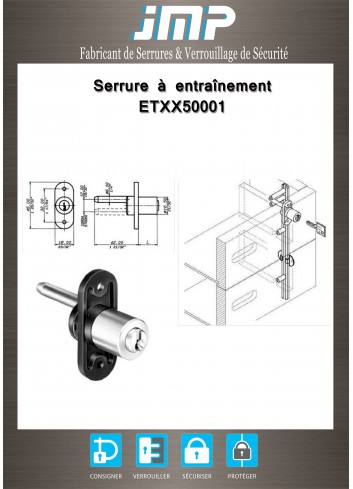 Serrure à entraînement ETXX50001 pour meuble - Plan Technique