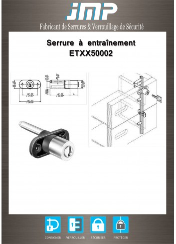 Serrure à entraînement pour meuble ETXX50002 - Plan Technique