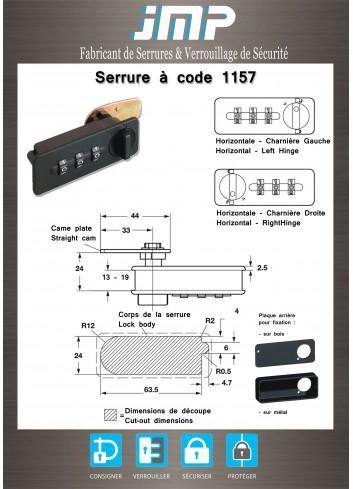 Serrure à code 1157 à came batteuse - Plan Technique