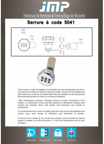 Serrure à code 3 molettes 5041 - Plan Technique