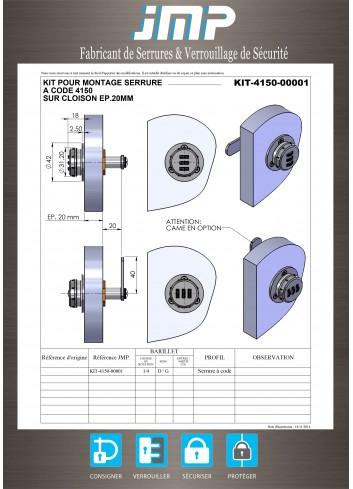 Serrure à code 3 molettes KIT-4150-00001 épaisseur 20mm - Plan Technique