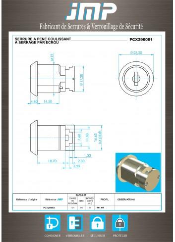 Serrure à pêne coulissant PCX290001 - Plan Technique