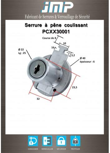 Serrure à pêne coulissant PCXX30001 - Plan Technique