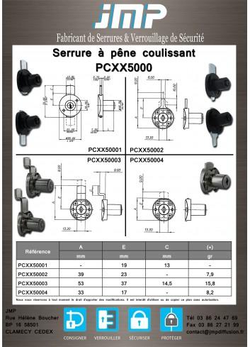 Serrure à pêne coulissant PCXX50001 - Plan Technique