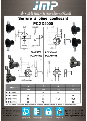 Serrure à pêne coulissant PCXX50004 - Plan Technique