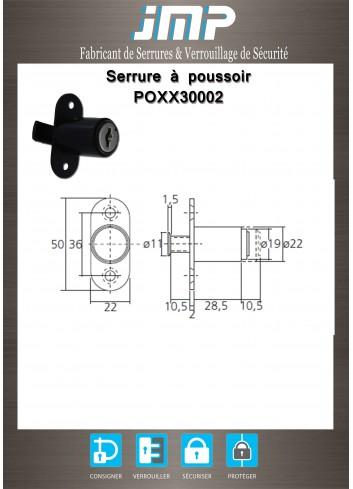 Serrure à poussoir avec came batteuse POXX30002 - Plan Technique