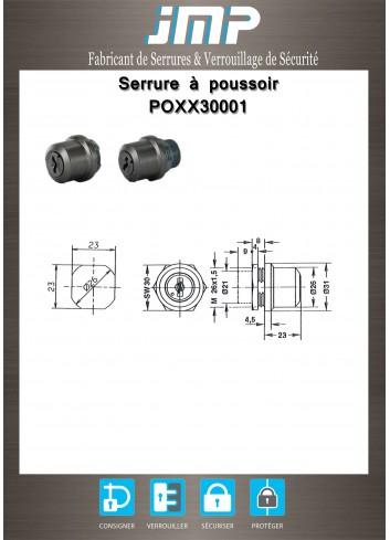Serrure à poussoir POXX30001 - Plan Technique