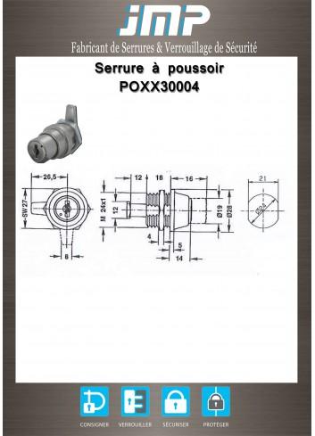Serrure à poussoir POXX30004 - Plan Technique