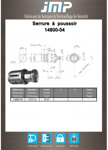 Serrure à poussoir 14800-04 - Plan Technique