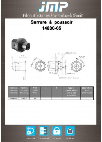 Serrure à poussoir 14800-05 - Plan Technique