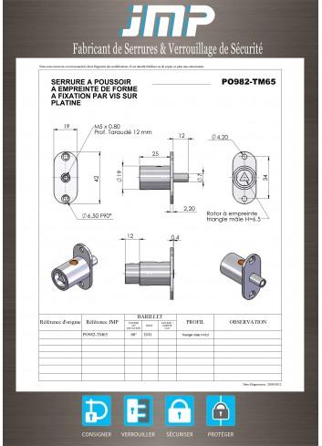 Serrure à poussoir PO982-TM65 - Plan Technique