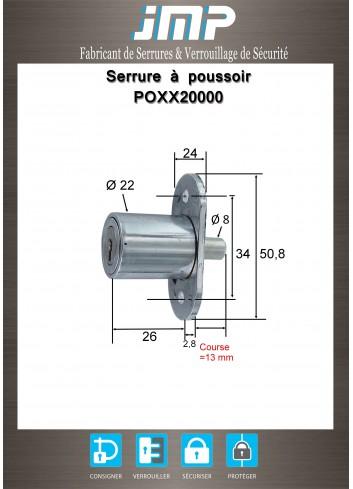 Serrure à poussoir POXX20000 Ø22 - Course 13 mm - Plan Technique