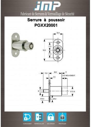 Serrure à poussoir POXX20001 - Clé tubulaire - Plan Technique