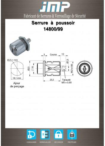 Serrure à poussoir 14800-99 - Plan Technique