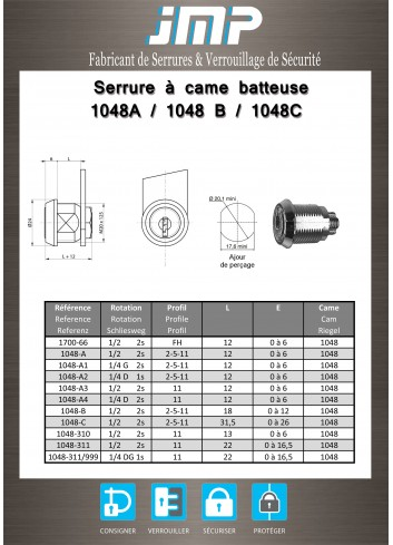 Serrure à came batteuse 1048A - Plan Technique