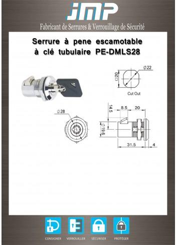 Serrure à pêne escamotable PE-DMLS28 - Plan Technique