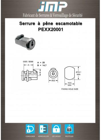Serrure à pêne escamotable PEXX20001 - Plan Technique