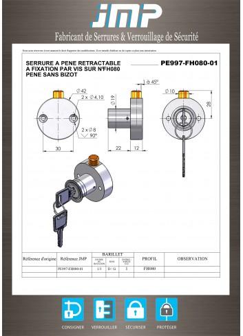 Serrure à pêne escamotable rétractable rond PE997-01 - Plan Technique