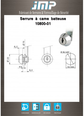 Serrure à came batteuse 10800-01 - Plan Technique