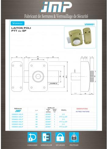 Verrou V999001 - Plan Technique