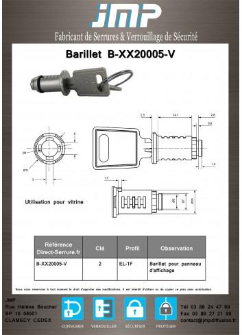 Barillet serrure B-XX20005-V - Plan Technique