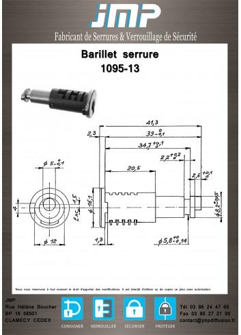 Barillet serrure 1095-13 - Plan Technique