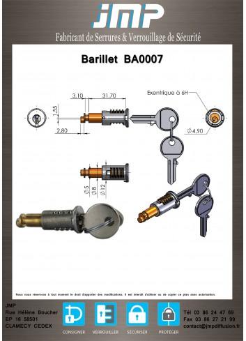 Barillet serrure BA0007 - Plan Technique