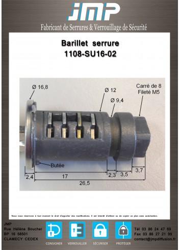 Barillet serrure 1108-SU16-02 - Plan Technique