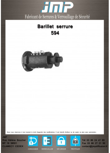 Barillet serrure 594 - Plan Technique