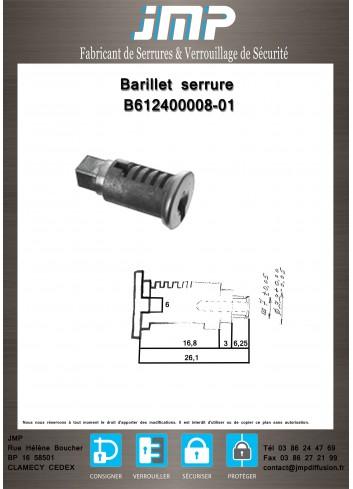 Barillet serrure B612400008-01 - Plan Technique
