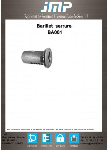 Barillet serrure BA001 - Plan Technique