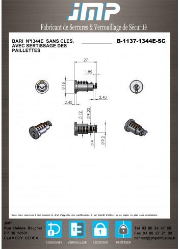 Barillet bronze  B-1137 pour poignée Schneider Prisma + G - Plan Technique