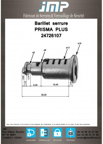 Barillet serrure 24726107 poignée PRISMA PLUS (08934-08935-08936) - Plan Technique