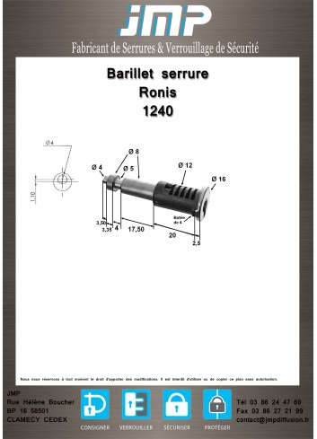 Barillet serrure Ronis 1240 - Plan Technique