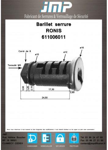 Barillet serrure Ronis 611006011 - Plan Technique