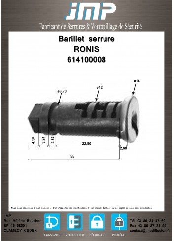 Barillet serrure Ronis 614100008 - Plan Technique