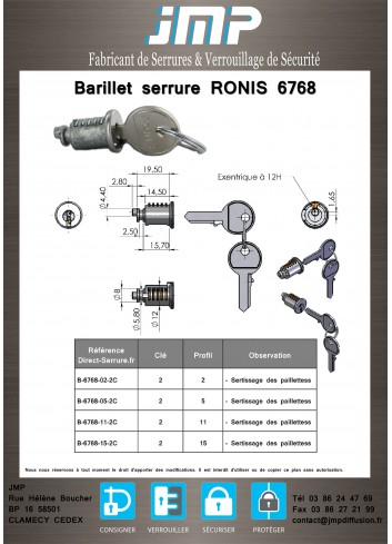 Barillet serrure Ronis 6768 - Plan Technique