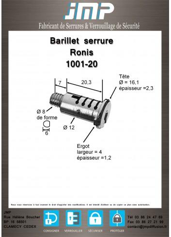 Barillet serrure Ronis 1001-20 - Plan Technique